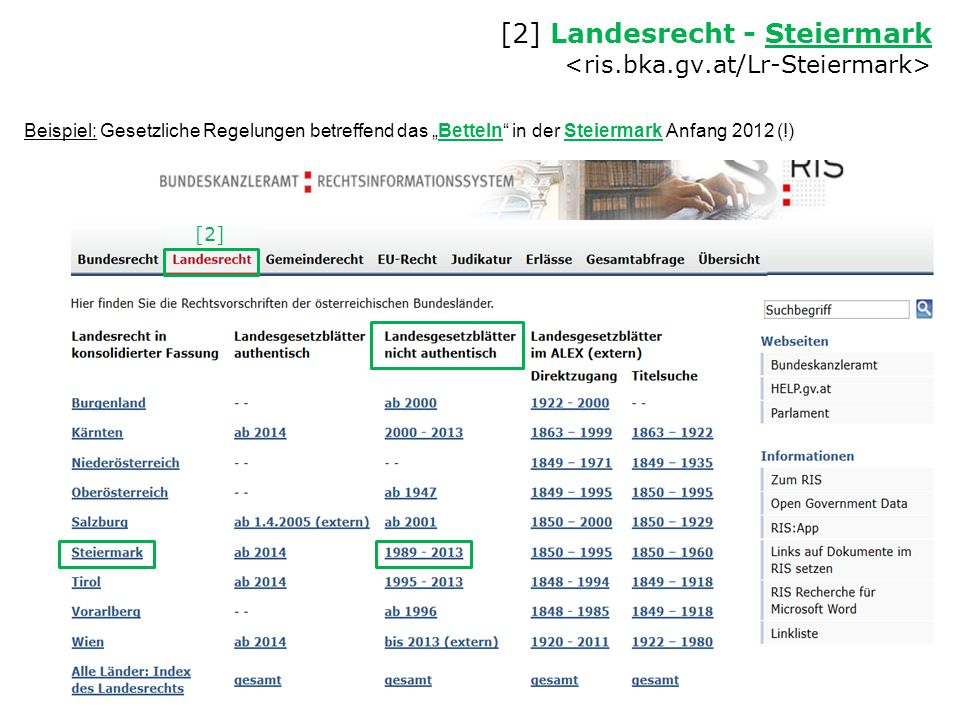 [2] Landesrecht - Steiermark <ris.bka.gv.at/Lr-Steiermark>